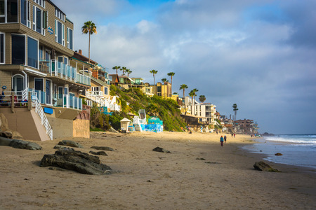 laguna: Houses along the beach, in Laguna Beach, California.