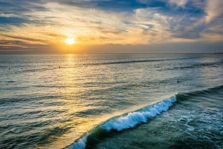 Sunset over the Pacific Ocean in Oceanside, California.