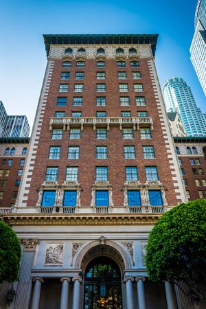 pershing: Tall brick building at Pershing Square, in downtown Los Angeles, California. Editorial