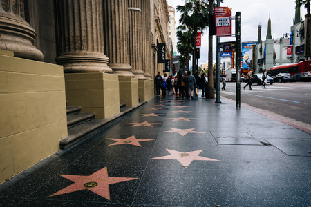 walk in: The Hollywood Walk of Fame, in Hollywood, Los Angeles, California.
