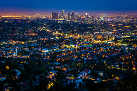 los angeles: View of the downtown Los Angeles skyline at night, from Griffith Observatory, in Griffith Park, Los Angeles, California. Stock Photo