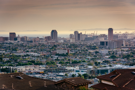 long: View of the Long Beach skyline from Hilltop Park, in Signal Hill, Long Beach, California.