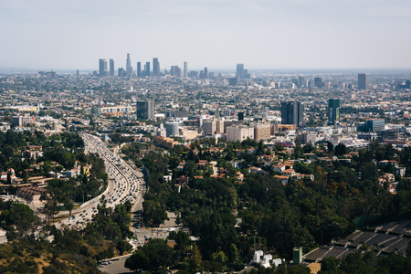 overlook: View of the Los Angeles skyline from the Hollywood Bowl Overlook, on Mulholland Drive, in Los Angeles, California. Stock Photo