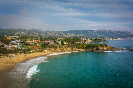 laguna: View of the Pacific Coast from Crescent Bay Point Park, in Laguna Beach, California. Stock Photo