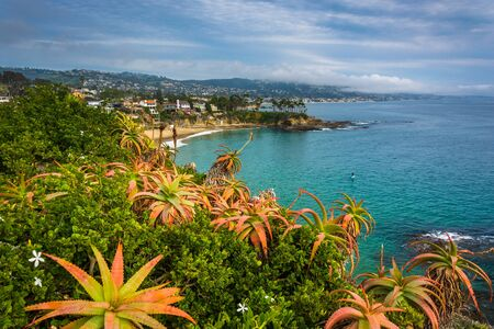beach: View of the Pacific Coast from Crescent Bay Point Park, in Laguna Beach, California. Stock Photo