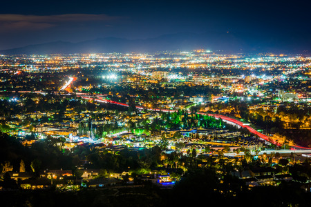 san fernando valley: View of the San Fernando Valley from the Universal City Overlook on Mulholland Drive, in Los Angeles, California. Stock Photo