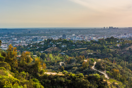 hollywood: View of trails in Griffith Park and Hollywood from Griffith Observatory, in Los Angeles, California.