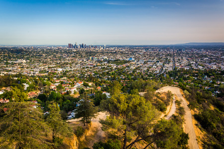 griffith: View of trails in Griffith Park and Los Angeles from Griffith Observatory, in Los Angeles, California.