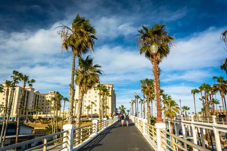 Walkway to the pier, in Oceanside, California. Stock Photo