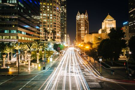 los angeles county: Long exposure of traffic and buildings along 5th Street at night, in downtown Los Angeles, California.