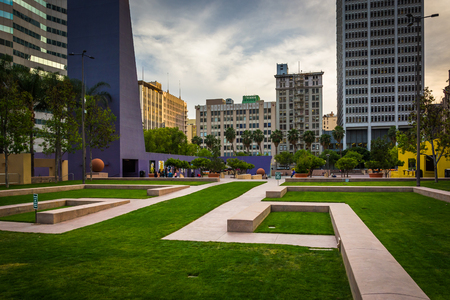 pershing: Pershing Square and buildings in downtown Los Angeles, California. Editorial