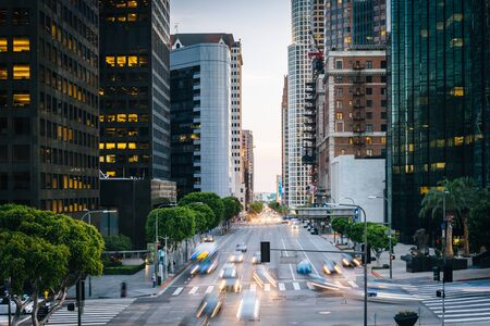 los angeles county: Traffic and buildings on Figueroa Street, in the Financial District, Los Angeles, California.