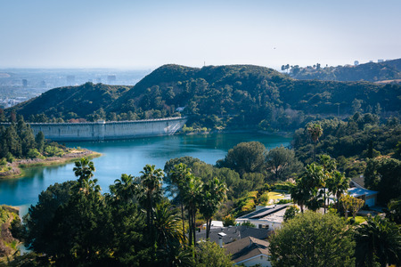 hollywood   california: View of Hollywood Reservoir, in Los Angeles, California. Stock Photo