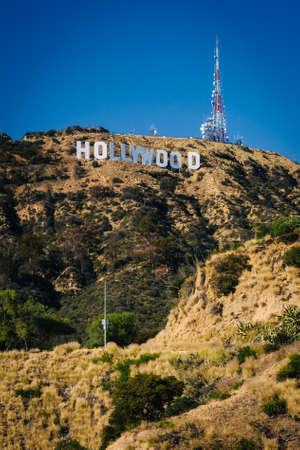 View of the Hollywood Sign from Canyon Lake Drive, in Los Angeles, California. Stock Photo