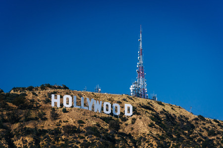hills: View of the Hollywood Sign from Canyon Lake Drive, in Los Angeles, California. Stock Photo