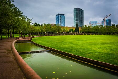 stepped: Stepped canal and walkway at Downtown Park, in Bellevue, Washington. Stock Photo
