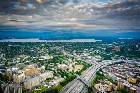 View of I-5 and Lake Washington, in Seattle, Washington.