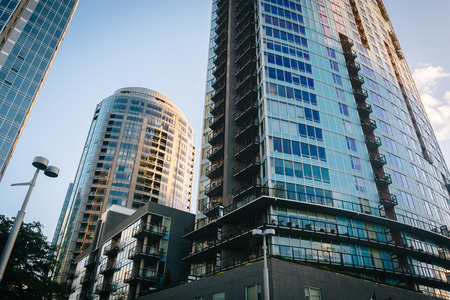 Modern buildings at the South Waterfront in Portland, Oregon. Stock Photo