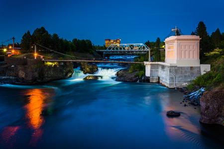 Twilight view of Spokane Falls, in Spokane, Washington.