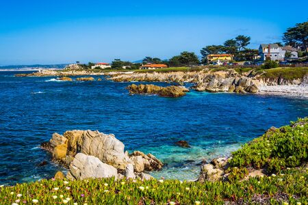 state of mood: View of rocky coastline in Pacific Grove, California. Stock Photo