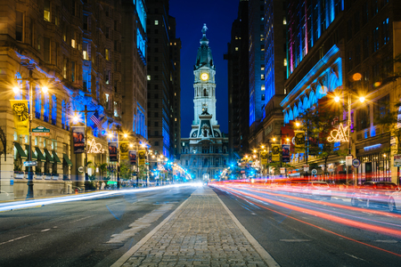 Broad Street and City Hall at night, in Center City, Philadelphia, Pennsylvania. Stock Photo - 41009242