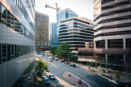 rosslyn: View of Wilson Boulevard and modern buildings in Rosslyn, Arlington, Virginia.