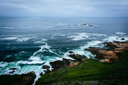 ocean state: View of the Pacific Ocean from cliffs at Garrapata State Park, California. Stock Photo