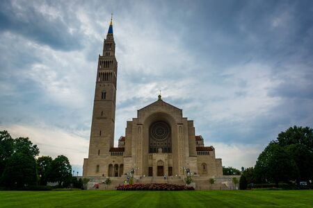 immaculate conception: The Basilica of the National Shrine of the Immaculate Conception, in Washington, DC. Stock Photo