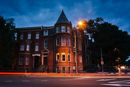 row house: Historic row house at Logan Circle at night, in Washington, DC.