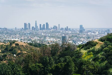 los angeles county: View of the Los Angeles skyline from Mulholland Drive, in Los Angeles, California.