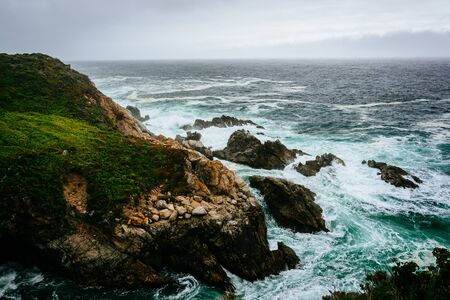 state of mood: View of the Pacific Ocean from cliffs in Big Sur, California.