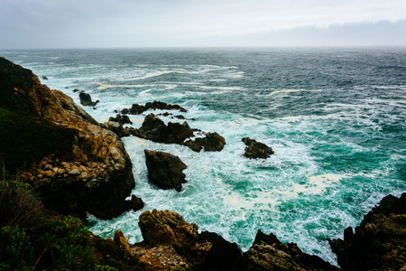 pacific ocean: View of the Pacific Ocean from cliffs in Big Sur, California.
