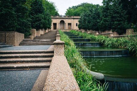 the meridian: Cascading fountain at Meridian Hill Park, in Washington, DC. Stock Photo
