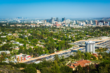 View of Los Angeles from Brentwood, California. Foto de archivo