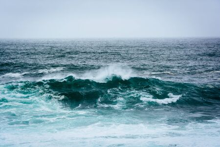ocean state: Waves in the Pacific Ocean, seen at Garrapata State Park, California. Stock Photo