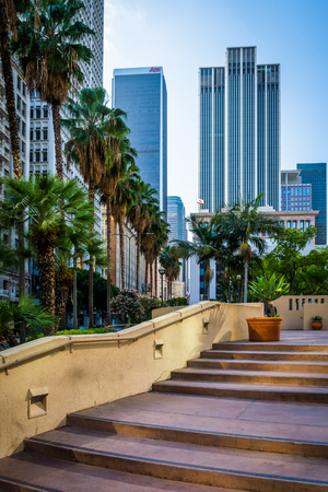 pershing: Stairs to Pershing Square Park and skyscrapers in downtown Los Angeles, California.