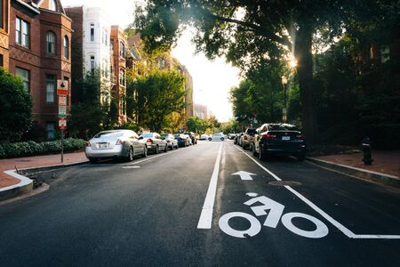 residential street: Residential street near Dupont Circle, in Washington, DC. Editorial