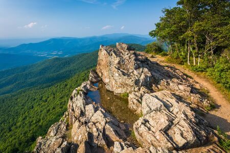 blue ridge: View of the Blue Ridge Mountains from Little Stony Man Cliffs in Shenandoah National Park, Virginia. Stock Photo