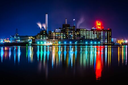 fells: The Domino Sugars Factory at night in Baltimore, Maryland.