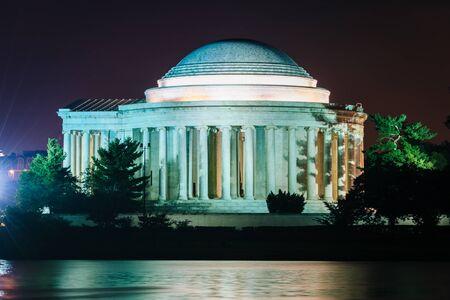 the memorial: The Thomas Jefferson Memorial at night, in Washington, DC.