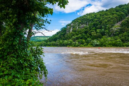 west river: The Potomac River, in Harpers Ferry, West Virginia. Stock Photo