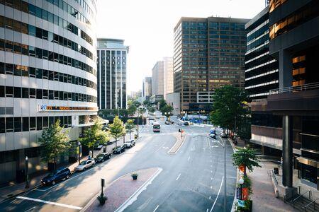 wilson: View of Wilson Boulevard and modern buildings in Rosslyn, Arlington, Virginia.