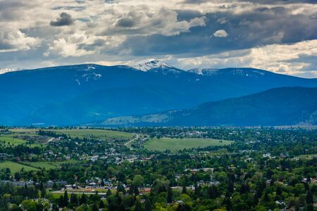 the sentinel: Distant mountains outside of Missoula, seen from Mount Sentinel, in Missoula, Montana.
