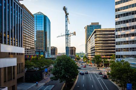rosslyn: View of Lynn Street and modern buildings in Rosslyn, Arlington, Virginia. Editorial