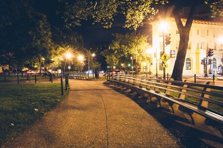 dupont: Dupont Circle Park at night, in Washington, DC. Stock Photo
