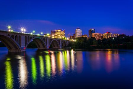 rosslyn: The Key Bridge over the Potomac River and Rosslyn skyline at night, seen from Georgetown, Washington, DC.