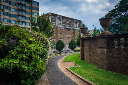the meridian: Walkway and buildings on W Street, seen at Meridian Hill Park, in Washington, DC. Stock Photo