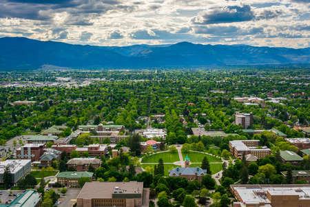 the sentinel: View of University of Montana from Mount Sentinel, in Missoula, Montana. Stock Photo