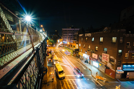 lower east side: View of Market Street at night, seen from the Manhattan Bridge Walkway, in the Lower East Side, Manhattan, New York.