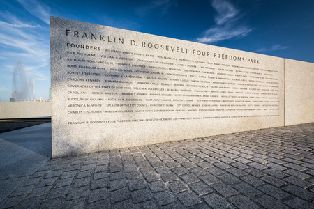 founders: Founders Wall at Franklin D. Roosevelt Four Freedoms Park on Roosevelt Island, Manhattan, New York.